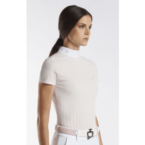 Cavalleria Toscana Slim Perforated Polo powder pink