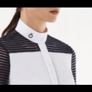 Cavalleria Toscana transparant wool stripe jersey hvid