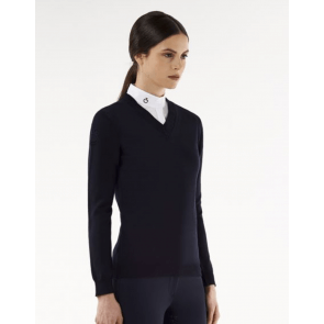 Cavalleria Toscana Tech Wool Fully-Fashioned V-neck Sweater navy