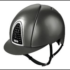 Kep Ridehjelm Metal Grey Swarowski