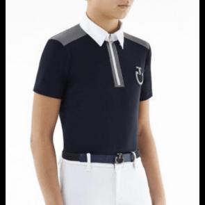 Cavalleria Toscana Jersey Insert Zip Polo m. Krave Navy Junior