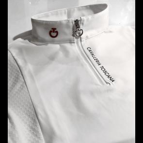 Cavalleria Toscana Jersey Polo Tech Knit Inserts JR Hvid