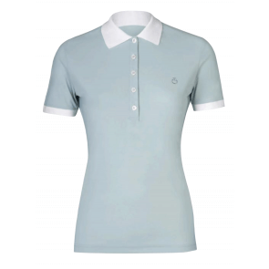 Cavalleria Toscana Perforated Polo w. Side Zip Pocket Lyseblågrøn