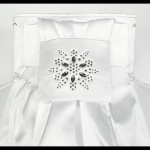Animo XAR plastron hvid med Svarowski blomst