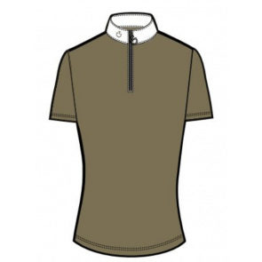 Cavalleria Toscana Front Zip S/S Polo Lys Army