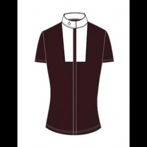 Cavalleria Toscana Embossed Stripe Shirt w. Bib Bordeaux