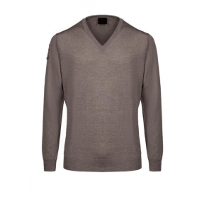 Cavalleria Toscana V-Neck Unisex Sweater w. CT Logo Brun