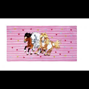 Håndklæde med tre heste 150x75 cm