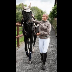 Cavalleria Toscana Nylon Hooded Jacket W/Rib Knit Insert Beige