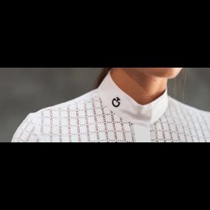 Cavalleria Toscana Crochet + Jersey Comp. S/S Polo Hvid