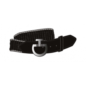 Cavalleria Toscana Women's Contrast Edge Elastic Belt Black/Light Grey