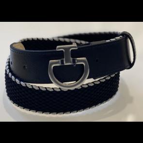 Cavalleria Toscana Women's Contrast Edge Elastic Belt Navy/grå
