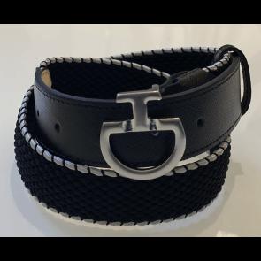 Cavalleria Toscana Women's Contrast Edge Elastic Belt Black/Light Grey