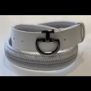 Cavalleria Toscana Chevron Stripe Belt Hvid/sølv