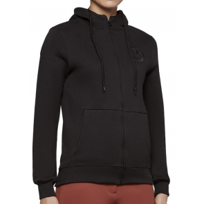 Cavalleria Toscana Embossed Embridery Logo Hooded Zip Sweatshirt Sort