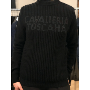 Cavalleria Toscana Crew Neck Rib Stitch Sweater Herre Black