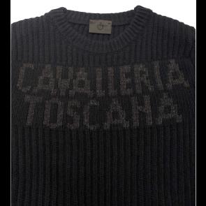 Cavalleria Toscana Crew Neck Rib Stitch Sweater Navy