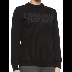 Cavalleria Toscana Crew Neck Rib Stitch Sweater Black