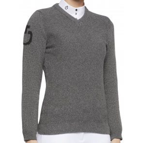 Cavalleria Toscana V-neck Seed Stitch Sweater Grey