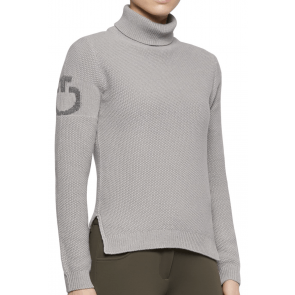 Cavalleria Toscana Long Turtleneck Seed Stitch Sweater Light Grey