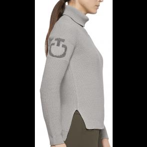Cavalleria Toscana Long Turtleneck Seed Stitch Sweater Grey