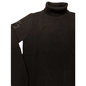 Cavalleria Toscana Long Turtleneck Seed Stitch Sweater Black
