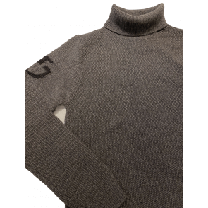 Cavalleria Toscana Long Turtleneck Seed Stitch Sweater Grey
