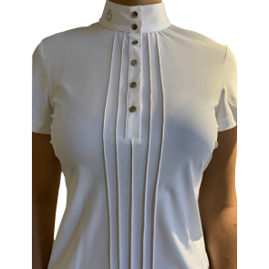 Cavalleria Toscana Pleated S/S jersey Competition shirt Hvid