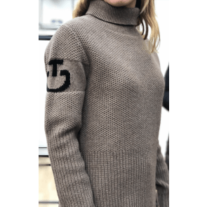 Cavalleria Toscana Eco Merinos Turtleneck Double Knit Sweater Mud