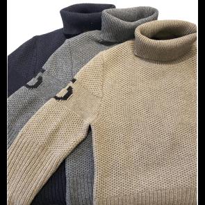Cavalleria Toscana Eco Merinos Turtleneck Double Knit Sweater Navy