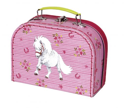 Lyserød taske/kasse med pony