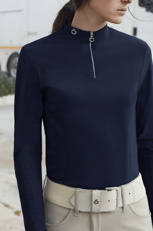 Cavalleria Toscana Perforated Jersey Zip L/S Training Polo Navy