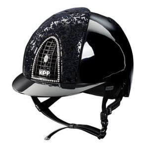 KEP ridehjelm Black Latex med Swarowski Frame