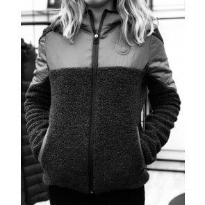 Cavalleria Toscana Sherpa Fleece Hooded Zip Jacket with Padded Nylon Black
