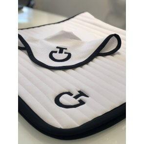 Cavalleria Toscana Quilted Row Jersey Dressurunderlag Hvid/sort