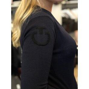 Cavalleria Toscana V-Neck Sweater w. CT Logo Navy