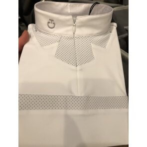 Cavalleria Toscana Perforated Collar Zip Comp. Polo JR Hvid